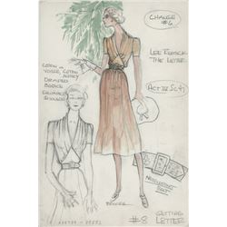 """Lee Remick """"Leslie Crosbie"""" costume sketch by Donald Brooks for The Letter."""