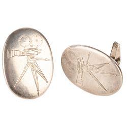 """War in Space"" (Battle in Outer Space) sterling silver cufflinks."