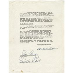 Lucille Ball and Desi Arnaz signed document and checks (one by each).