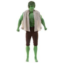 "Lou Ferrigno ""The Hulk"" screen worn costume from The Incredible Hulk on custom Hulk display."