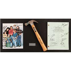 Home Improvement cast signed pilot episode script, photo and hammer signed by Tim Allen.