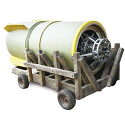 """Prop """"Jughead"""" nuclear bomb with transport cart from Season 5 of LOST."""