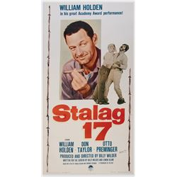 Frank Darabont personal 1959 rerelease three-sheet poster for Stalag 17 signed by Billy Wilder.
