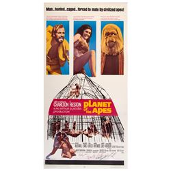 Frank Darabont personal three-sheet poster for Planet of the Apes signed by Heston,  McDowell