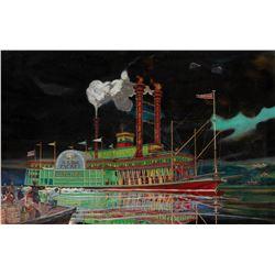 Original model kit box artwork by Howard W. Arnold for the Natchez Mississippi River paddle boat.