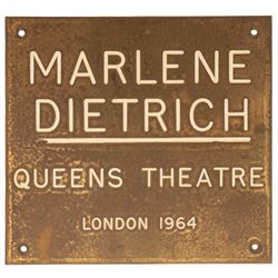 Marlene Dietrich's personally owned dressing room plaque from the Queen's Theater.