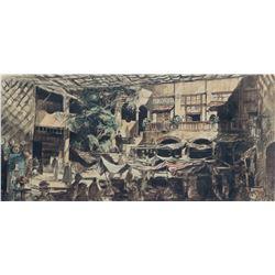 "Gambit ""Exterior - Bazaar - Town of Damuz"" photograph of set design by Leon Harris."