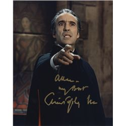 """Christopher Lee as """"Count Dracula"""" signed color photograph."""