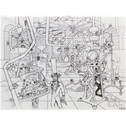 Harper Goff original concept artwork of Factory interior for Willy Wonka and the Chocolate Factory.