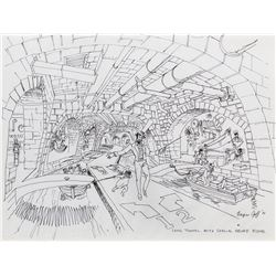 Harper Goff original concept artwork of the Long Tunnel for Willy Wonka and the Chocolate Factory.