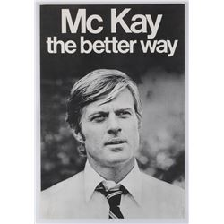 """Robert Redford as """"Bill McKay"""" prop campaign poster from The Candidate."""