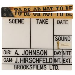 Director Alan Johnson production bible, clapper board, and award for Mel Brooks' To Be or Not to Be.