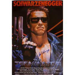 Arnold Schwarzenegger signed 1-sheet poster from The Terminator.