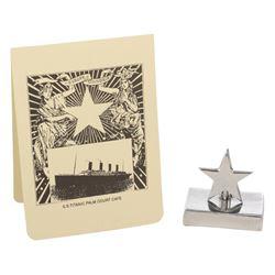 Titanic menu & silver star menu holder.