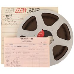 "Vintage reel-to-reel tape labeled ""Desilu Score Star Trek 9/20/66"" with original sound report."