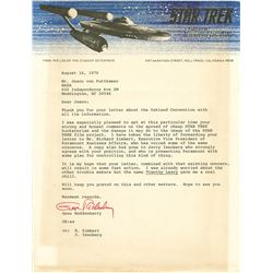 "Gene Roddenberry typed and signed letter regarding the Star Trek ""film project""."