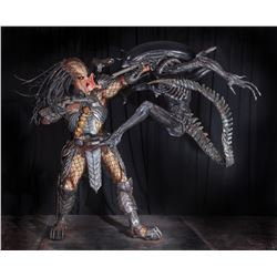 Alien vs. Predator full size figure display with screen used armor elements.