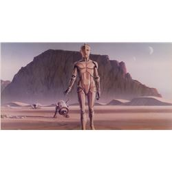 Original production office photo print of Ralph McQuarrie concept artwork of C-3PO and R2-D2.