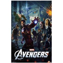 Stan Lee and cast signed original release 1-sheet poster from The Avengers.