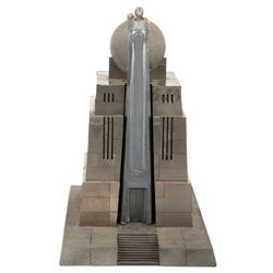"""Art Deco Kryptonian maquette with """"House of El"""" insignia from unattributed Superman production."""