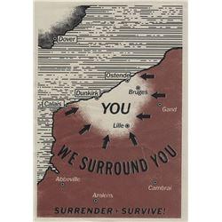 """German Luftwaffe """"Surrender + Survive"""" leaflet from Dunkirk."""