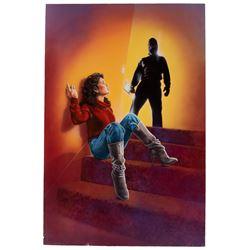 Joann Daley original VHS cover artwork for early Kevin Costner film Shadows Run Black.