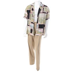"""Kevin Costner """"Roy McAvoy"""" (3) piece abstract landscape shirt ensemble from Tin Cup."""