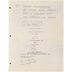 Barry Sonnenfeld's Miller's Crossing storyboards revised Jan 19, 1989.