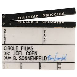 Miller's Crossing clapperboard signed by Barry Sonnenfeld.