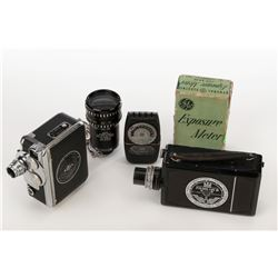 """Barry Sonnenfeld (2) 8mm cameras, light meter """"Prince of Optics"""" sign and Panavision viewfinder."""
