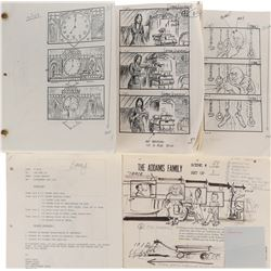 The Addams Family collection of printed storyboards.