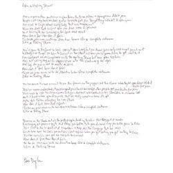 "Bob Dylan Signed, Handwritten Lyrics to ""Like a Rolling Stone""."