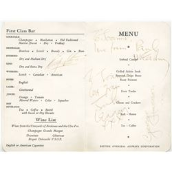 The Beatles menu signed by all four members on flight to the Bahamas to shoot Help!