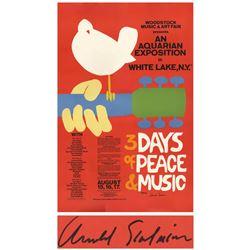 Woodstock concert poster signed by artist Arnold Skolnick.