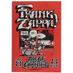 Frank Zappa & Alice Cooper 1972 tour poster signed by artist Rick Griffin.