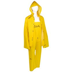 """Billie Eilish signed yellow rainwear ensemble in the style as worn in the """"Bellyache"""" music video."""