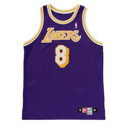 Kobe Bryant game-worn #8 Lakers road jersey from 1998-99 season.