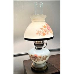 Vintage Hurricane Milk Glass  Parlor Lamp - Tested and it works