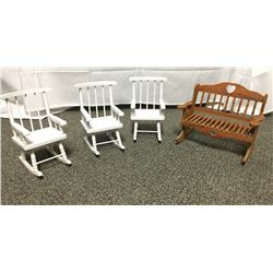 Miniature Rocking Chairs and Bench