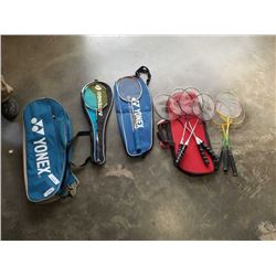 LOT OF BANDMINTON RACQUETS AND BAGS