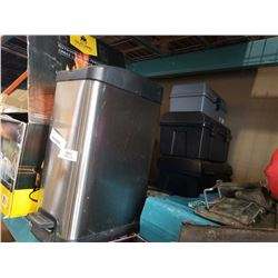 3 TOOLBOXES, STAINLESS WASTE BIN AND 2 CLOCKS