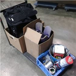 2 BOXES OF ROLLER BLADES LAPTOP BAG AND MORE