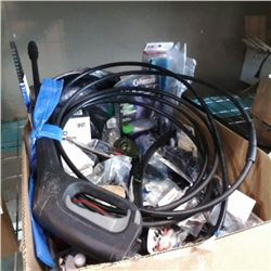 BOX OF NEW AUTOMOTIVE PARTS, PRESSURE WASHER GUN WITH HOSE AND MORE