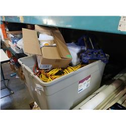 TOTE OF EXTENTION CORDS, TOOLS, CAMP LAUNDRY REELS