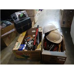 2 BOXES OF TOOLS, HARD HATS, AND LUNCH BOX