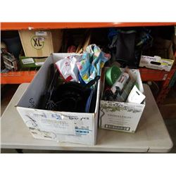 2 boxes of camping cookware and accessories