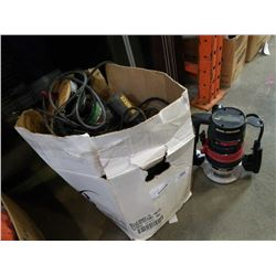 BOX OF POWER TOOLS, ROUTERS, JIGSAW