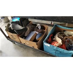 3 BOXES OF RUBBER BOOTS AND ESTATE ITEMS