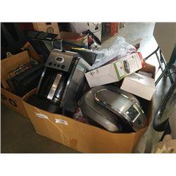 BOX OF COFFEE MAKERS, GRINDER, TVPAD2 TV BOX