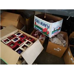 4 BOXES OF CHRISTMAS DECOR AND NEW ORNAMENTS